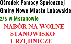 Ilustracja do informacji: Nabór na wolne stanowisko urzędnicze w OPS Gminy Nowe Miasto Lubawskie.