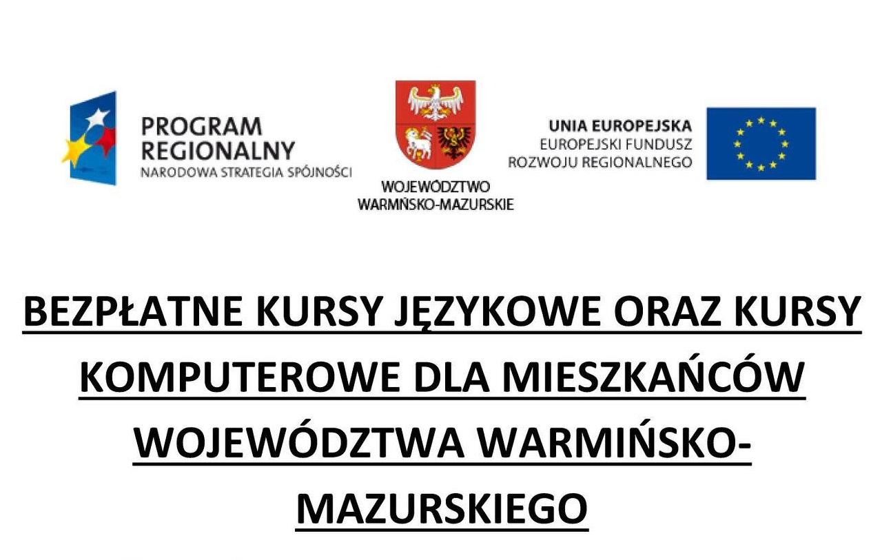 Ilustracja do informacji: Bezpłatne kursy językowe oraz komputerowe dla mieszkańców województwa Warmińsko-Mazurskiego