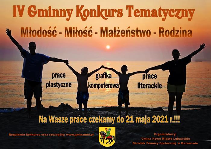 """Ilustracja do informacji: Rusza nabór prac do IV Gminnego Konkursu Tematycznego pn. """"Młodość – Miłość – Małżeństwo - Rodzina"""""""