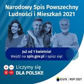 Ilustracja do informacji: Od 1 kwietnia 2021r. trwa Narodowy Spis Powszechny Ludności i Mieszkań 2021!